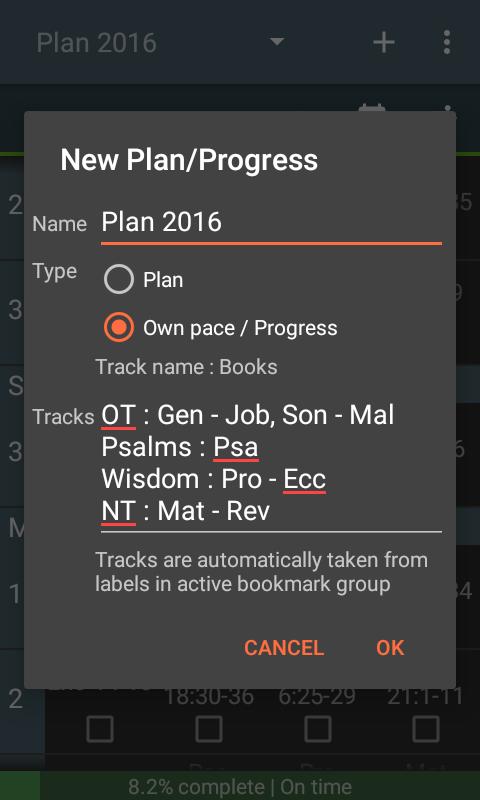 Create own pace progress tracker